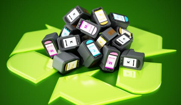 Printer cartridges around a recycling symbol