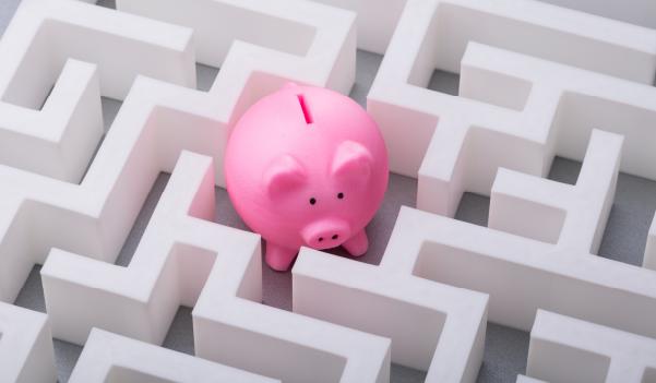 Piggy bank hidden in a maze